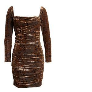 Ruched Velour Croc Print Dress